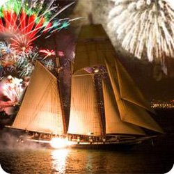 Promotional image of fireworks aboard the California.
