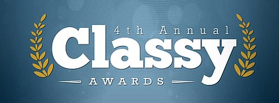 Promotional graphic for the 4th Annual Classy Awards hosted at the San Diego Civic Theatre