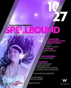 "Promotional graphic for the ""Spellbound"" Halloween at the W San Diego on October 27th, 2012."