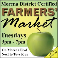 Promotional graphic for the Morena District Certified Farmers' Market on every Tuesday from 3-7pm.