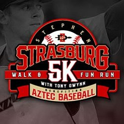 Promotional graphic for the Third Annual Stephen Straburg 5k on Saturday, January 26, 2013. Courtesy of the San Diego State University Baseball Team.