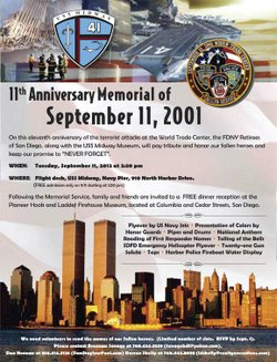 Promotional graphic for the 11th Anniversary Memorial Of 9/11 on the flight deck of the USS Midway, September 11, 2012 at 2:30 p.m. Courtesy of the USS Midway Museum