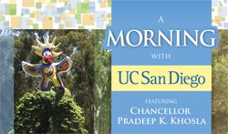 Promotional flyer for A Morning with UC San Diego on December 8th at 9 am.