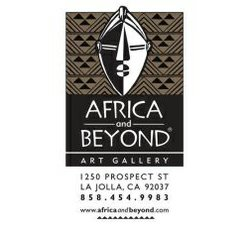 Graphic logo for Africa and Beyond Ethnographic Art Gallery, located at 1250 Propsect Street, La Jolla, CA 92037