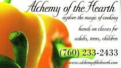 Promotional graphic for Alchemy of the Hearth cooking sch...