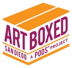 Graphical logo of Art Boxed San Diego a PODS Project.