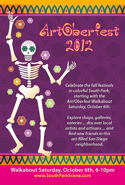 Promotional graphic for the Art/Oberfest 2012 South Park Walkabout on October 6th.
