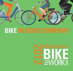 Graphical logo for Bike to Work Day, May 18th, 2012.