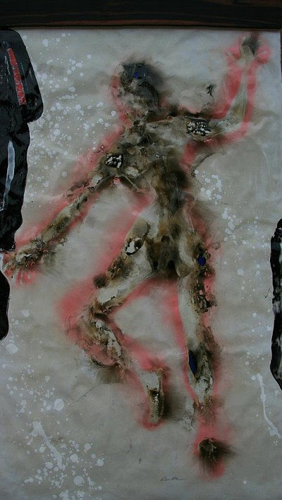"Promotional image of ""Carol-Ann on Fire"" - 7 foot tall fire painting (created with flame and mixed media on paper), supported by Macassar Ebony"
