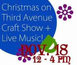 Graphical logo for Christmas On 3rd Avenue Craft Show at the San Diego Woman's Club on November 18.