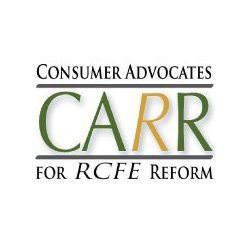 Graphic logo for Consumer Advocates for RCFE Reform [CARR]. Courtesy image of CAAR.