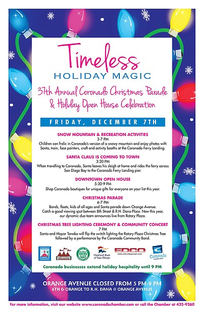 Promotional graphic for the 37th Annual Coronado Chamber of Commerce Christmas Parade & Holiday Open House, December 7, 2012. Courtesy of Coronado Chamber of Commerce
