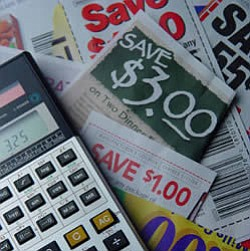 Promotional image of coupons and a calculator. Couponing Class is held at the College Avenue Center on December 18th.