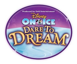 "Graphic logo for Disney on Ice ""Dare to Dream"" at Valley View Casino Center from January 23-27, 2013."