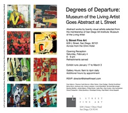 Promotional flyer for Degrees of Departure: Museum of Living Artist Goes Abstract.