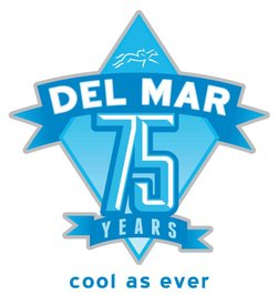 Graphical logo for the Del Mar Horse Racing 75th Annual.
