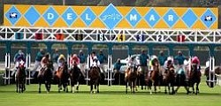 Promotional image of the Del Mar Racetrack, season begins July 18th- September 5th.