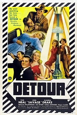 "Promotional movie poster for film noir thriller, ""Detour."""