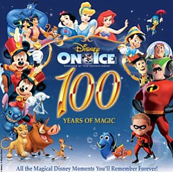 "Promotional image for Disney on Ice – ""100 years of Magic"" at Valley View Casino October 10th-14th."