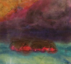 "Promotional artwork of Emil Nolde's ""Stormy Sky over a Frisian Farmhouse""1935. Watercolor on paper. Gift of Mr. and Mrs. Norton S. Walbridge. Image provided by San Diego Museum of Art."