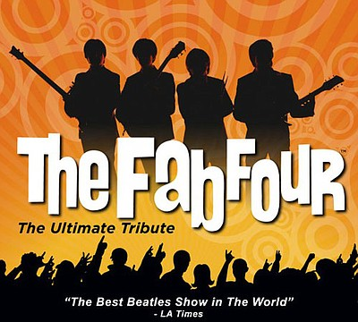 "Promotional graphic for The Fab Four - The Ultimate Beatles Tribute. ""The Best Beatles Show in The World"" - LA Times. Courtesy of The Fab Four."