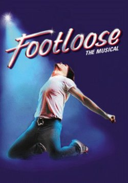 "Promotional graphic for ""Footloose"" presented by the San Diego Musical Theatre"