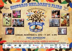 Promotional graphic for the Fall Back Festival: Children's Historic Street Faire on November 4, 2012 from 11 a.m. to 4 p.m. Courtesy of Gaslamp Quarter Historical Foundation