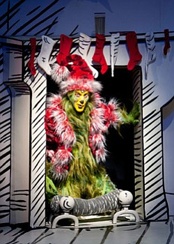 "Steve Blanchard stars as The Grinch in the 2011 production of ""Dr. Seuss' How the Grinch Stole Christmas!"" at The Old Globe. The annual holiday musical runs November 17th - Dec. 29th 2012. Photo by Henry DiRocco."