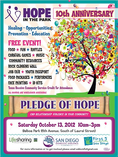 Promotional graphic for the HOPE in the Park 2012.