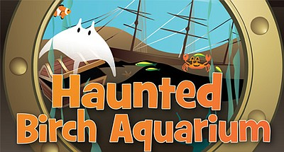 Promotional graphic for Haunted Birch Aquarium: Shipwreck...