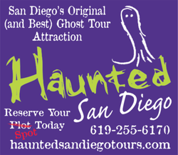 Promotional graphic for the Haunted San Diego Ghost Tours in Old town. Courtesy of Haunted Ghost Tours.