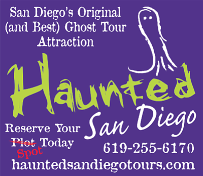 Promotional graphic for the Haunted San Diego Ghost Tours...