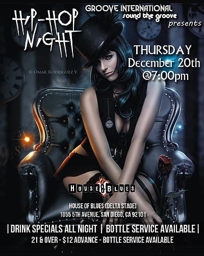 Promotional graphic for Hip-Hop Night, presented by Groove International at House Of Blues San Diego on Thursday, December 20, 2012 at 8 p.m. Courtesy of Groove International