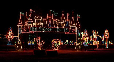 Promotional photo of a lighted exhibit at the annual Holiday of Lights at the Del Mar Fairgrounds, the largest animated drive-through light show on the West Coast. Courtesy of the Del Mar Fairgrounds.