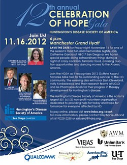 Promotional flyer for 12th Annual Celebration Of Hope Gala & Auction on November 16th.