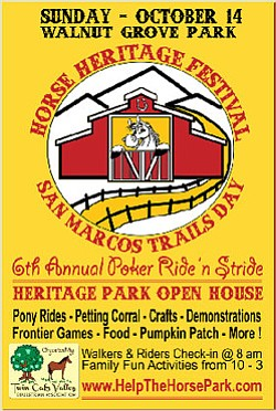Promotional flyer for Horse Heritage Festival & San Marcos Trails Day on October 14th.