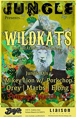 Promotional flyer for Belly Up Tavern's Jungle Featuring Wildkats.