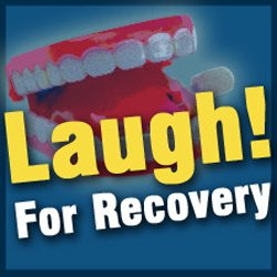 """Promotional graphic for """"Laugh To Recovery"""" with Mental Health Systems"""