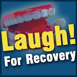 "Promotional graphic for ""Laugh To Recovery"" with Mental Health Systems"