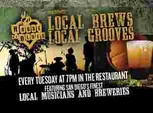 Promotional graphic for Local Brews, Local Grooves at House of Blues San Diego, every Tuesday at 7 p.m., featuring San Diego's finest local musicians and breweries. Courtesy of House of Blues San Diego.