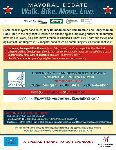 Promotional flyer for Walk. Bike. Move. Live. A San Diego Mayoral Debate on Sept. 19, 2012, from 6:30 p.m. – 9:00 p.m. at the University of San Diego's Shiley Theatre. Courtesy of Move San Diego