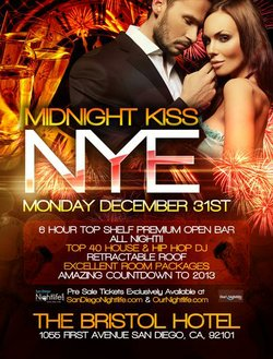 Promotional graphic for the Midnight Kiss New Year's Eve 2013 At The Bristol Hotel from 8pm-2am.