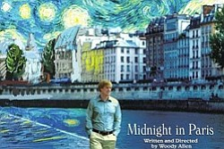 "Promotional graphic for ""Midnight in Paris,"" written and directed by Woody Allen."
