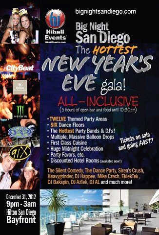 Promotional graphic for the Big Night San Diego New Year's Eve Gala at The Hilton Bayfront, December 31, 2012 from 9 p.m. to 3 a.m.
