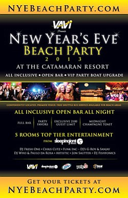 Promotional flyer for New Year's Eve Beach Party 2013 presented by Vavi.