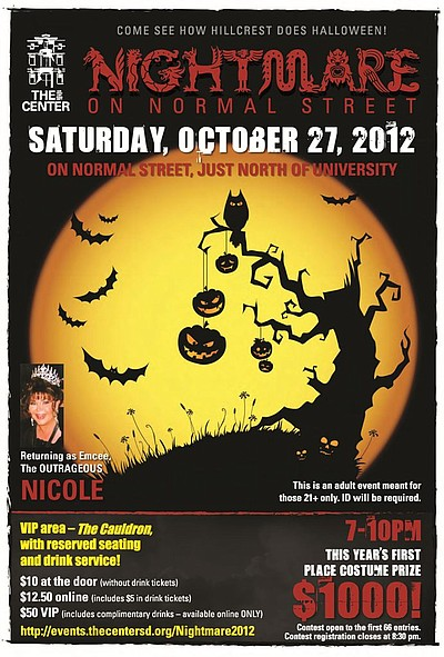 Promotional graphic for Nightmare On Normal Street, Saturday, October 27, 2012 from 7-10 p.m.