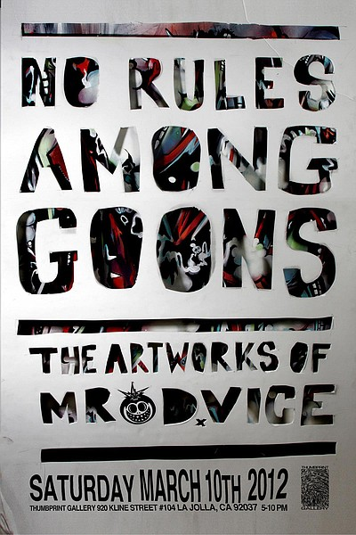 Promotional flyer for No Rules for Goons/Microcosm, exhibit opening March 10th.