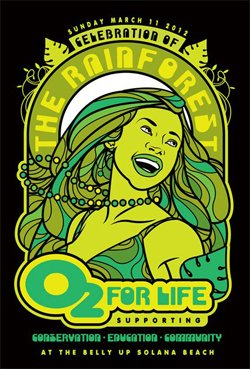 Graphical flyer for 02 For Life Rainforest Foundation.
