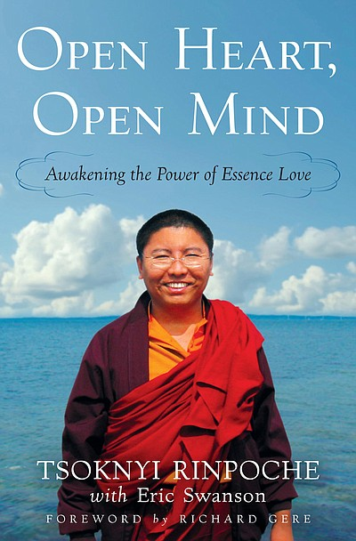 "Graphic cover of ""OPEN HEART, OPEN MIND: Awakening the Power of Essence Love,"" by Tsoknyi Rinpoche, co-written with Eric Swanson, with a foreword by Richard Gere."
