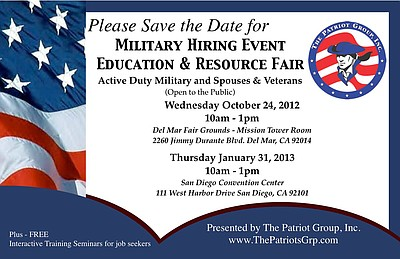 Promotional graphic for the Military Hiring Event, Education & Resource Fair, Wednesday, October 24, 2012 from 10 a.m. to 1 p.m. Courtesy of The Patriot Group, Inc. (TPGI)